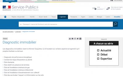 Le site du Service Public sur le diagnostic immobilier